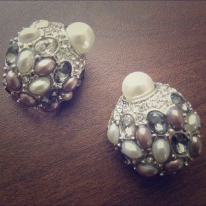 Ladybug Clip-On Earrings Freshwater Pearl Silver